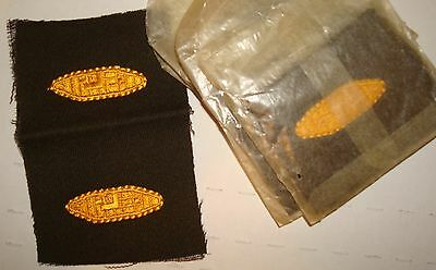WW2 Vintage US ARMY ARMORED TANK CORPS OFFICER BRANCH INSIGNIA PATCH SET