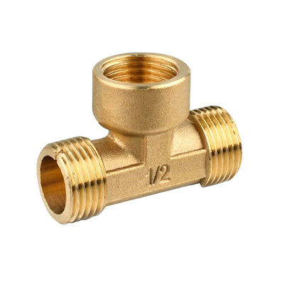 """1/2"""" Brass Male Female Male Tee Fitting Connecting Joint T-Junction 3-Way"""