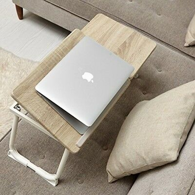 GreenForest Laptop Desk Stand Foldable Portable MDF Lap Desk Bed Tray Burlywood