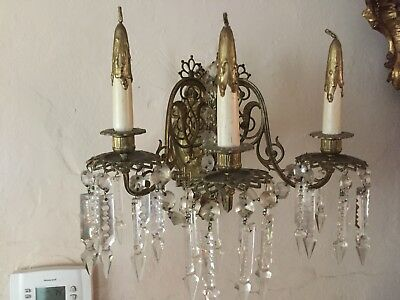 Pair Of Vintage French  Bronze & Crystal Sconces With 3 Arms Antique 18th Cent.