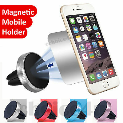 In Car Magnetic Phone Holder Fits Air Vent Universal Mount Various Colours