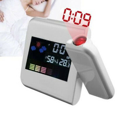 Projection Digital Weather LCD Snooze Alarm Clock Color Display Backlight