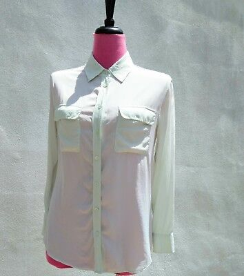8139feacce5b2 EQUIPMENT Womens SLIM SIGNATURE Long Slv SILK BUTTON UP Blouse Top MINT  GREEN S