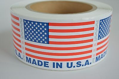 "1 Roll 500 Labels Per Roll Made In USA Labels, USA Flag Sticker 2"" x 3"""