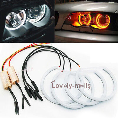4X Dual White Amber Cotton Angel Eye Halo Light Ring LED for BMW E46 3 Series
