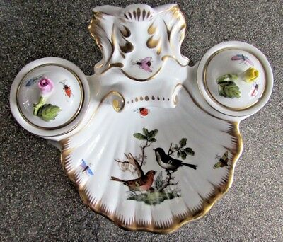 Very Rare Antique Herend Ink Stand Well Porcelain Hand Painted Stunning