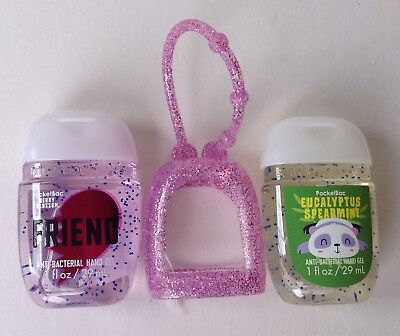 Bath & Body Works  2 x Hand Sanitizer Anti-Bac Gel Holder Friend Spearmint Panda