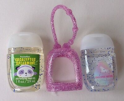Bath & Body Works  2 x Hand Sanitizer Anti-Bac Gel & Holders Unicorn Spearmint