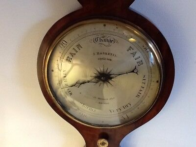 Antique Victorian Banjo Barometer & Thermometer,by J Ronketti,Optician,London