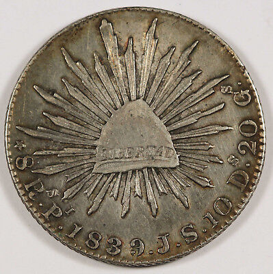 1839 MEXICO Republic Pi JS 8 Reales Silver Coin Cap & Ray XF+ Toned Scarce Date