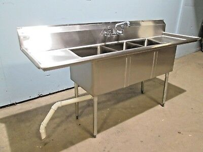 """SAUBER"" HEAVY DUTY COMMERCIAL (NSF) S.S. 84""L 3 COMPARTMENT SINK w/FAUCET"