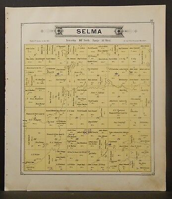 Minnesota Cottonwood County Map Selma Township 1896  J21#35