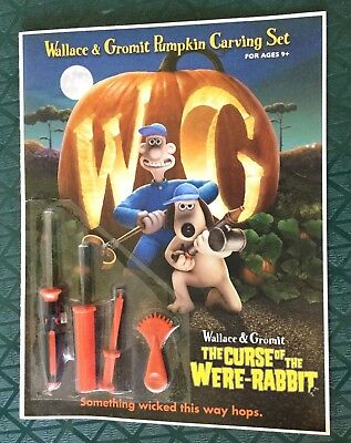Wallace & Gromit Pumpkin Carving Set -Curse Of The Were-Rabbit Trade Promo 2005.