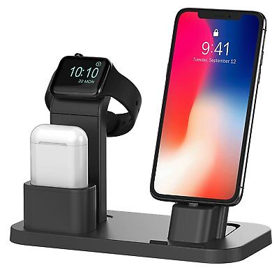 Apple Watch Stand iPhone X/8/8+ Charging Dock Station AirPods Charger Holder New