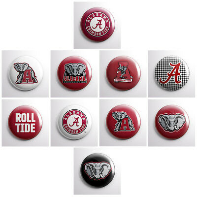 ALABAMA CRIMSON TIDE - college athletic pinback buttons - sports team pin badges