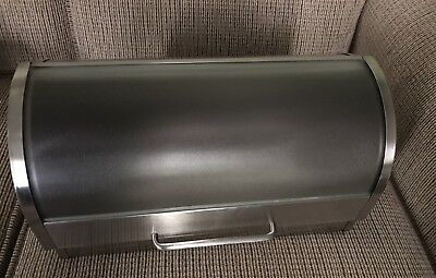 Roll Top Brushed Aluminum Bread Box, Nice Condition