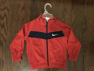 Nike 100% Polyester Baby Boys Red w/Navy Warm Up Athletic Zip Up Jacket Size 2T