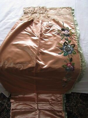 Antique Peach Silk Panel Ribbon Floral Trim Edging Chenille Embroidery Flowers