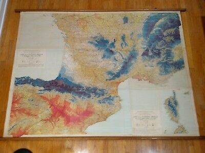 Beautiful 1 of a Kind? Large school map Southern France rainfall Spain vintage
