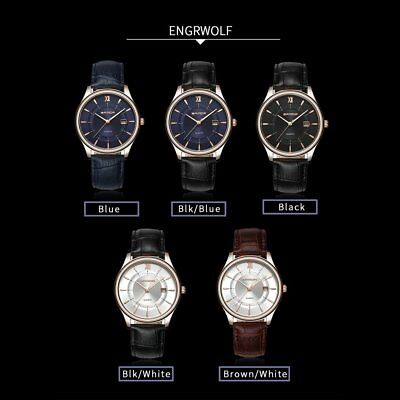 Water Resistant Quartz Watch with Calendar Function with Leather Band for Men G6