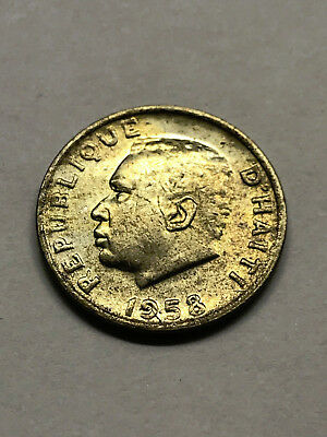 1958 Haiti 5 Centimes Brilliant Uncirculated Coat of Arms Coin