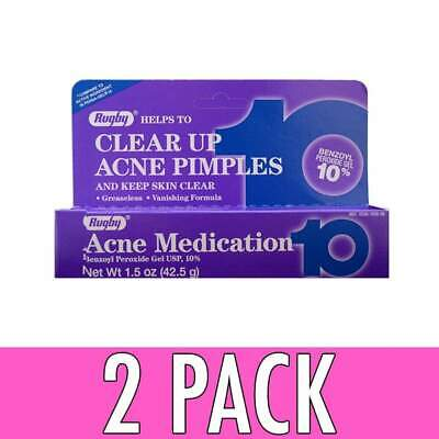 Rugby Clear Up Acne Pimples Medication Gel, 10%, 1.5 oz, 2 Pack