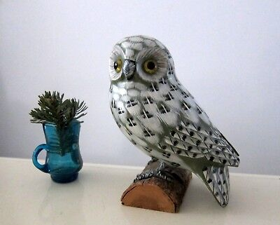 Hand Carved And Painted Owl Bird Figurine