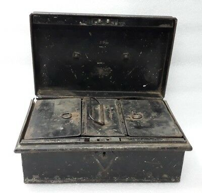 Antique Old Hand Made Tin Box Coin Money Cash 4 Compartment