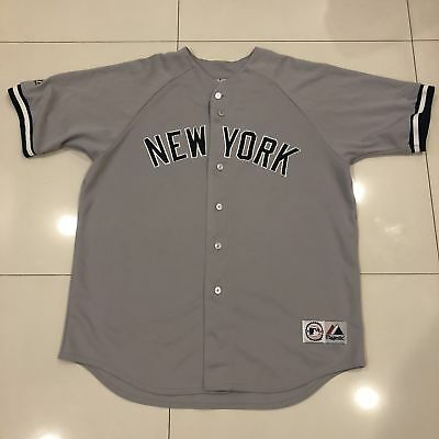 VINTAGE NEW YORK Yankees MLB Majestic Away Gray Jersey Size Mens XL ... e8e0dd1a7