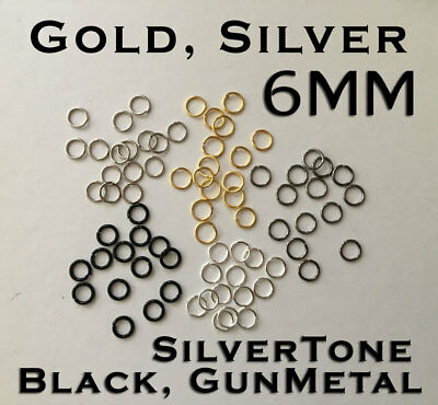 6mm Black Gold Silver Tone Gun Metal Open Jump Rings Split Ring Chain Round DIY