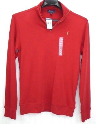 NWT Boys Ralph Lauren Polo XL 18- 20 Red 1/4 Zip Pullover Multicolor Pony L/S
