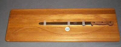 "NEW Dolphin Large Teakwood Fish Cleaning Cutting Board With Stainless 15"" Knife"