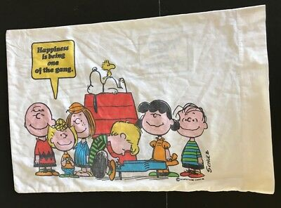 Vtg Peanuts Charlie Brown Pillowcase USA Cotton Poly 1971 Happiness is being