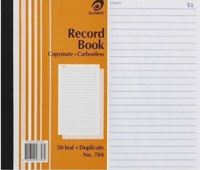 1 x  Olympic  704 Record Book Duplicate Carbonless 200mm x 125mm Ruled 140857