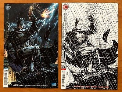 JUSTICE LEAGUE #1 Jim Lee Variants B + C  Inks Only Sketch Cover DC 2018 NM+
