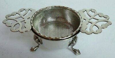 Silver Plate Victorian Tea Strainer Sieve Stand Feet Tea Coffee Pot Set EPNS