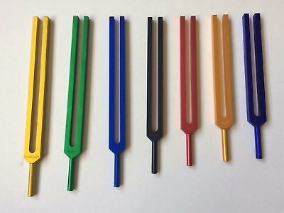 Chakra Tuning Fork Color Therapy Energy Healing w/ Mallet Velvet Pouch fast ship