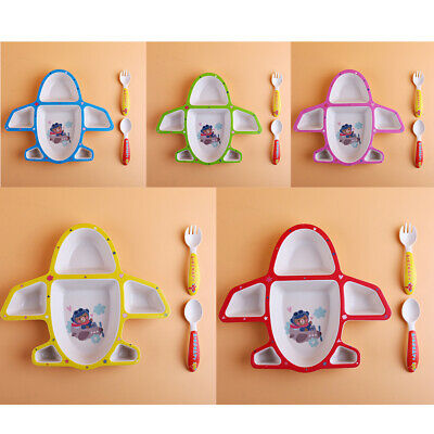 3Pcs Eco-Friendly Bamboo Fiber Kids cutlery Set baby food supplement plate