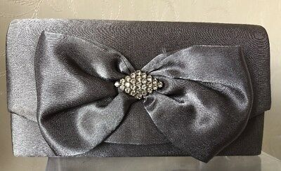 Silver Grey Satin Small Clutch Bag Ladies Race Day Wedding Prom Accessories