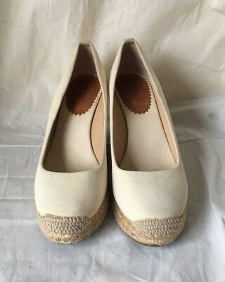 44bdb8fb3523 Women J.CREW Beige Canvas Espadrille Wedges Round-toe High Heel Shoes Size  6.5