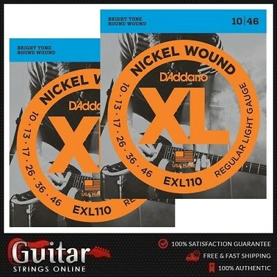 2 x D'Addario EXL110 Regular Light Electric Guitar Strings 10-46 New