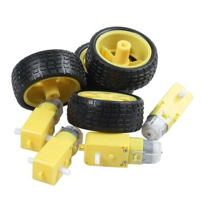 4 Pcs For Arduino Smart Car Robot Plastic Tire Wheel with DC 3-6V Gear Moto F5S4