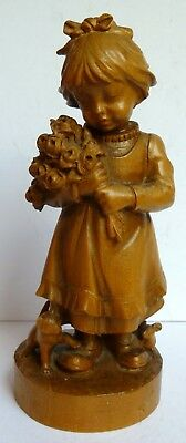 Antique Treen Wooden Arts & Crafts Flower Girl Cat Mouse Man Ornament Sculpture