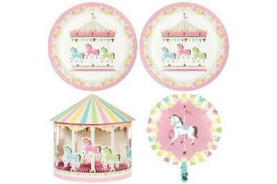 Pastel Coloured Carousel Baby Shower Party Range Tableware, Balloons, Decoration