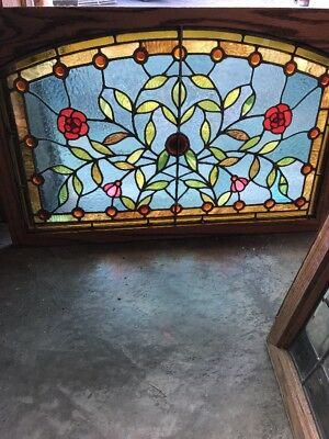 SG 2335 gorgeous floral jeweled transom window 21.75 x 34 restored