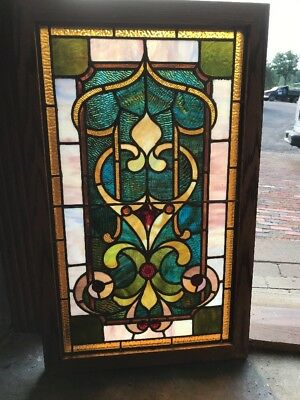 Sg 2336 Antique Jeweled Stain Glass Vertical Window 21.25 X 35