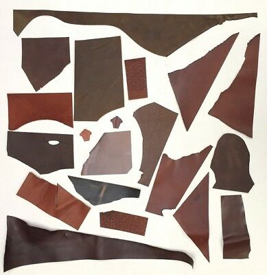 LEATHER COWHIDE, OFF-CUTS CRAFT PACK, 600 GRAMS, ASSORTED BROWNS, 1.5-2.2 mm