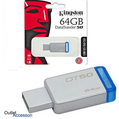 Penna USB Pendrive Memoria Esterna Kingston 64GB 64 DT50 PC Chiavetta 3.0 3.1