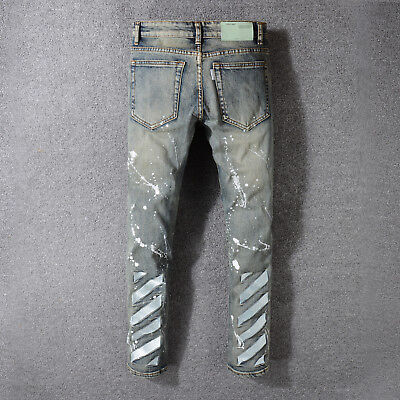 91a6fa5f 18 Fashion OFF WHITE Oil Paint ripped ragged Denim pants Striped Designer  Jeans