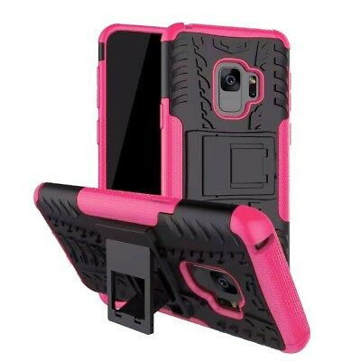 Heavy Duty Gorilla Shock Proof kick Stand Case Cover for Samsung A8 2018 (Pink)
